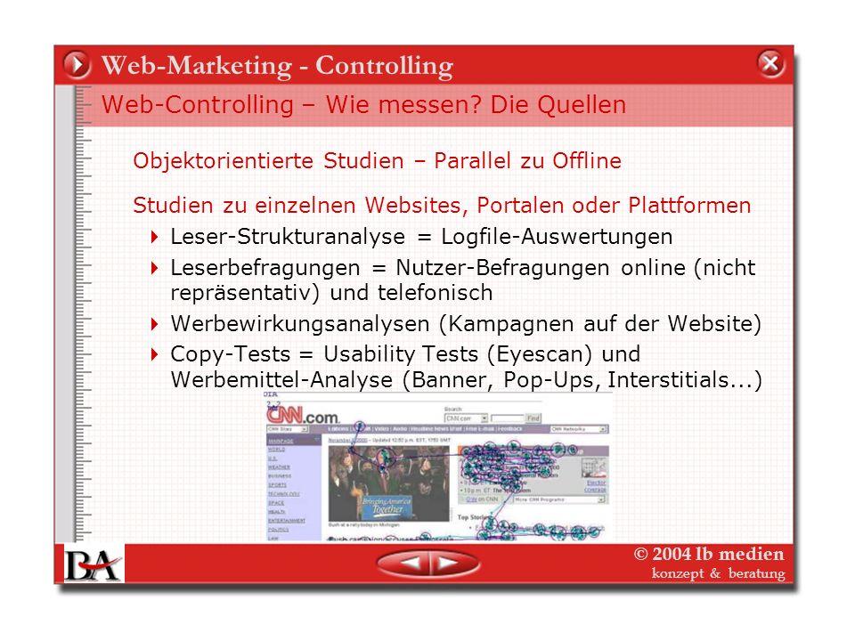© 2004 lb medien konzept & beratung Web-Marketing - Controlling Web-Controlling – Wie messen? Die Quellen Medien-Resonanzanalysen (PR-Controlling): Pr