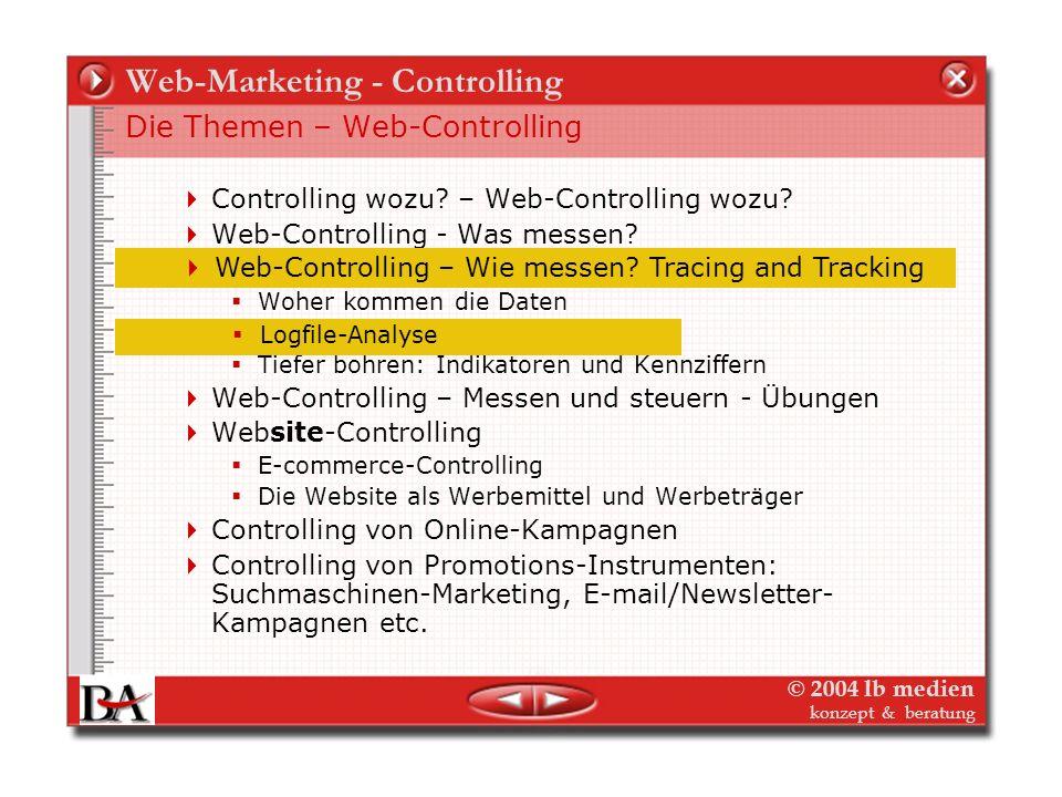 © 2004 lb medien konzept & beratung Web-Marketing - Controlling Web-Controlling – Wie messen? Die Quellen Objektorientierte Studien – Parallel zu Offl