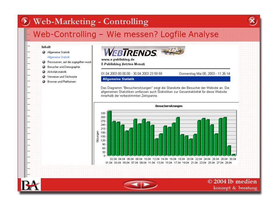 © 2004 lb medien konzept & beratung Web-Marketing - Controlling Web-Controlling – Wie messen? Logfile Analyse Server-Protokoll-Notizen und was sie bed