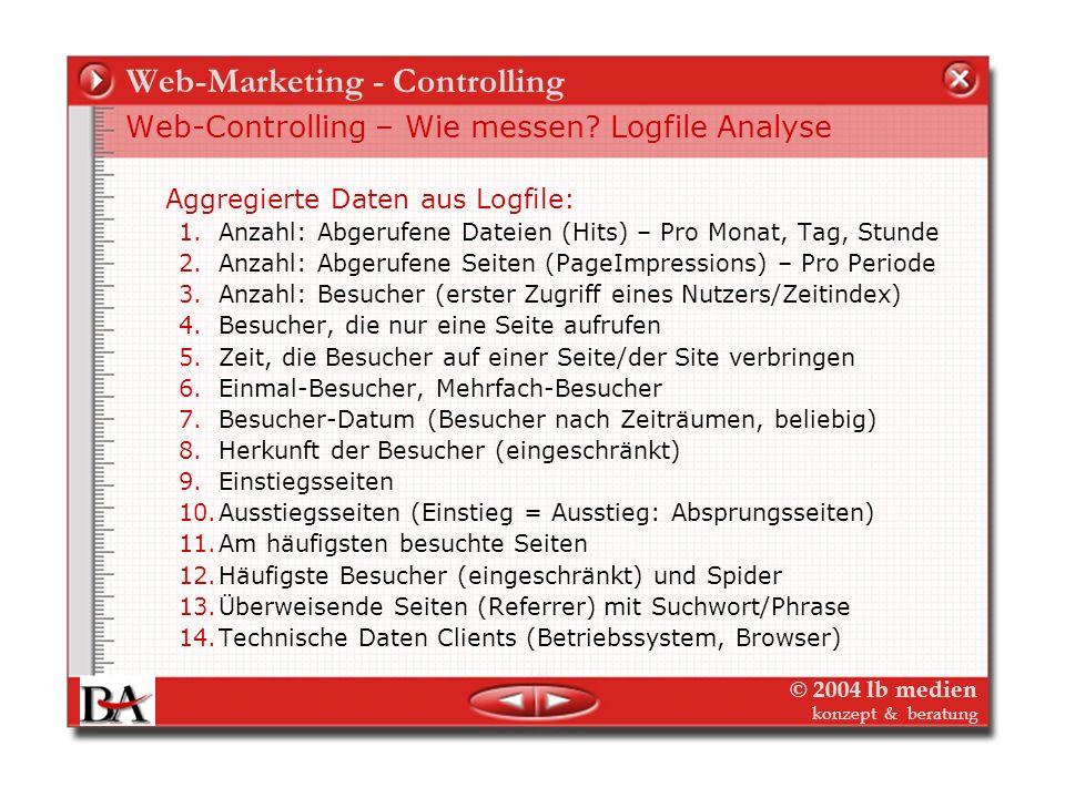 © 2004 lb medien konzept & beratung Web-Marketing - Controlling Web-Controlling – Wie messen? Logfile Analyse