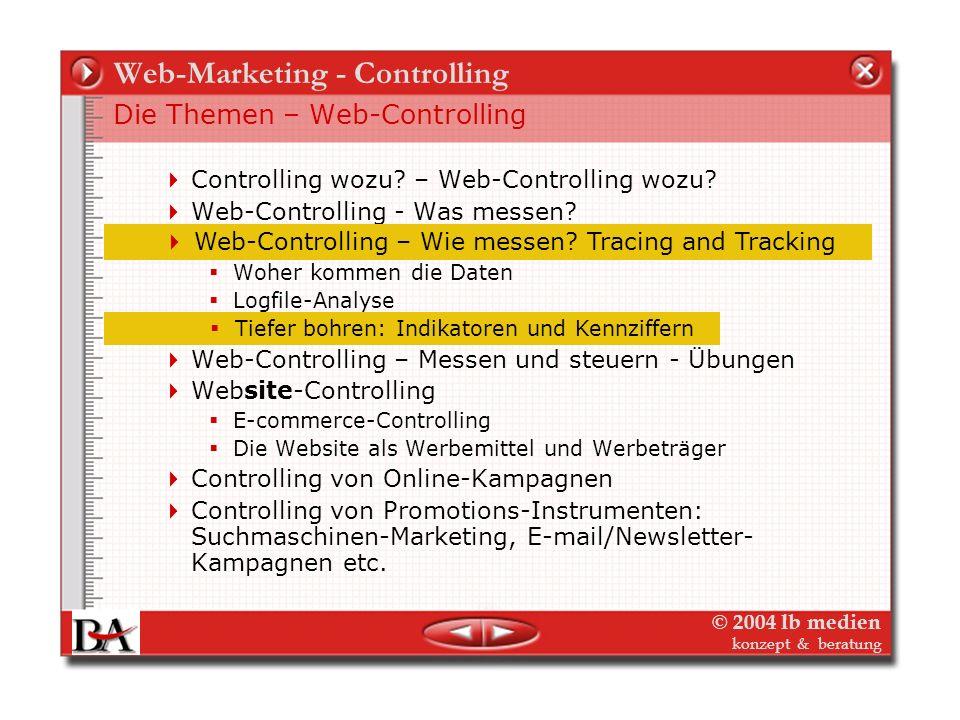 © 2004 lb medien konzept & beratung Web-Marketing - Controlling Web-Controlling – Wie messen? Tiefer bohren! 2. User Tracking – dem Nutzer auf der Spu