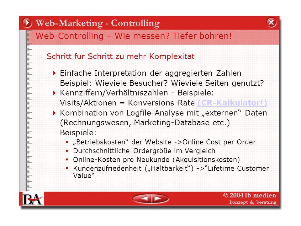 © 2004 lb medien konzept & beratung Web-Marketing - Controlling Web-Controlling – Wie messen? Tiefer bohren! Zum Beispiel: Pfadanalyse (User Path) Zum
