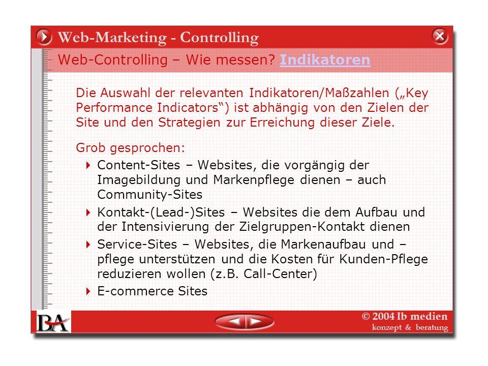 © 2004 lb medien konzept & beratung Web-Marketing - Controlling Web-Controlling – Wie messen? Tiefer bohren! Verlags-Software MIS Web-Server - Logfile