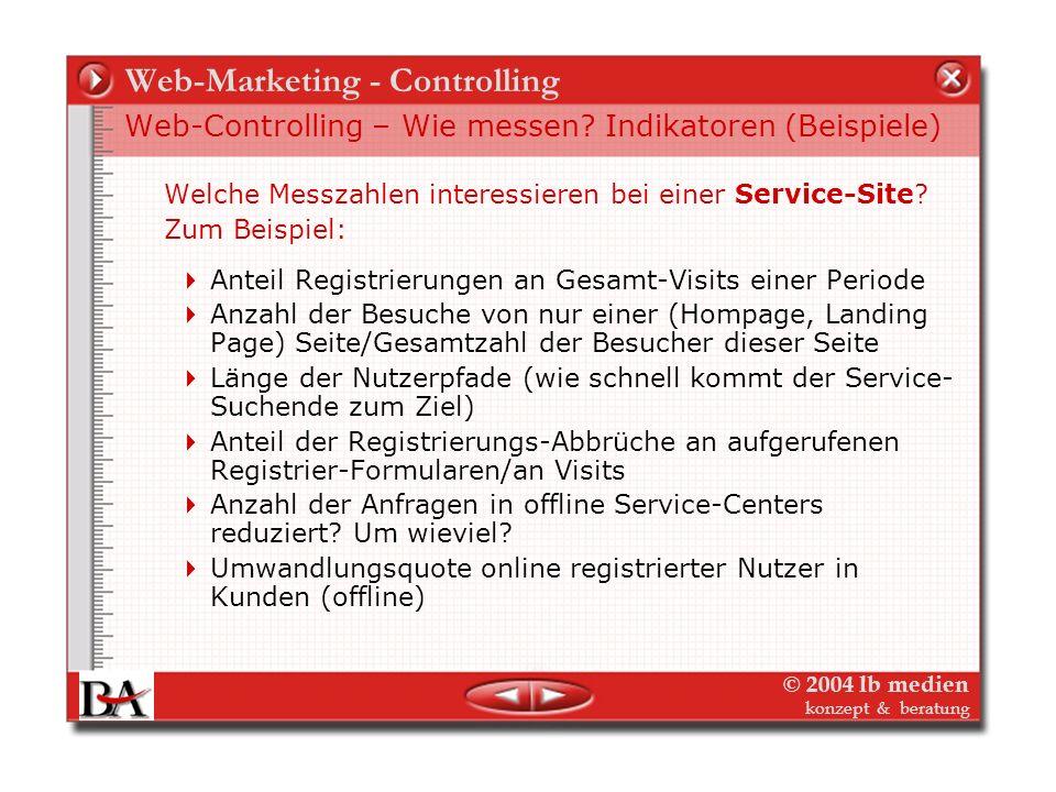 © 2004 lb medien konzept & beratung Web-Marketing - Controlling Web-Controlling – Wie messen? Indikatoren (Beispiele) Welche Messzahlen interessieren