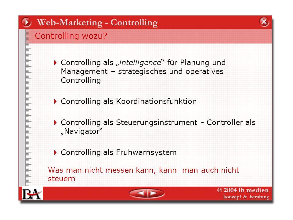 © 2004 lb medien konzept & beratung Web-Marketing - Controlling Planung – und damit Controlling – ist des Ersetzen des Zufalls durch den Irrtum. Tröst