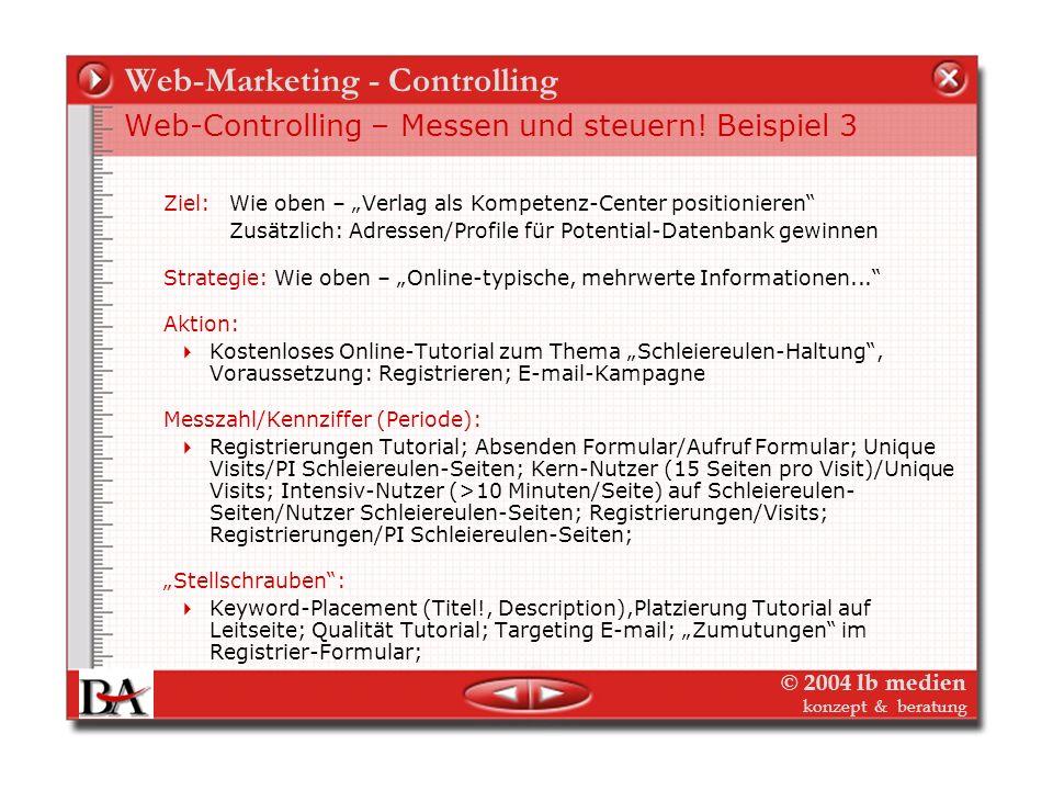 © 2004 lb medien konzept & beratung Web-Marketing - Controlling Web-Controlling – Messen und steuern! Beispiel 2 Ziel: Verlag als Kompetenz-Center bei