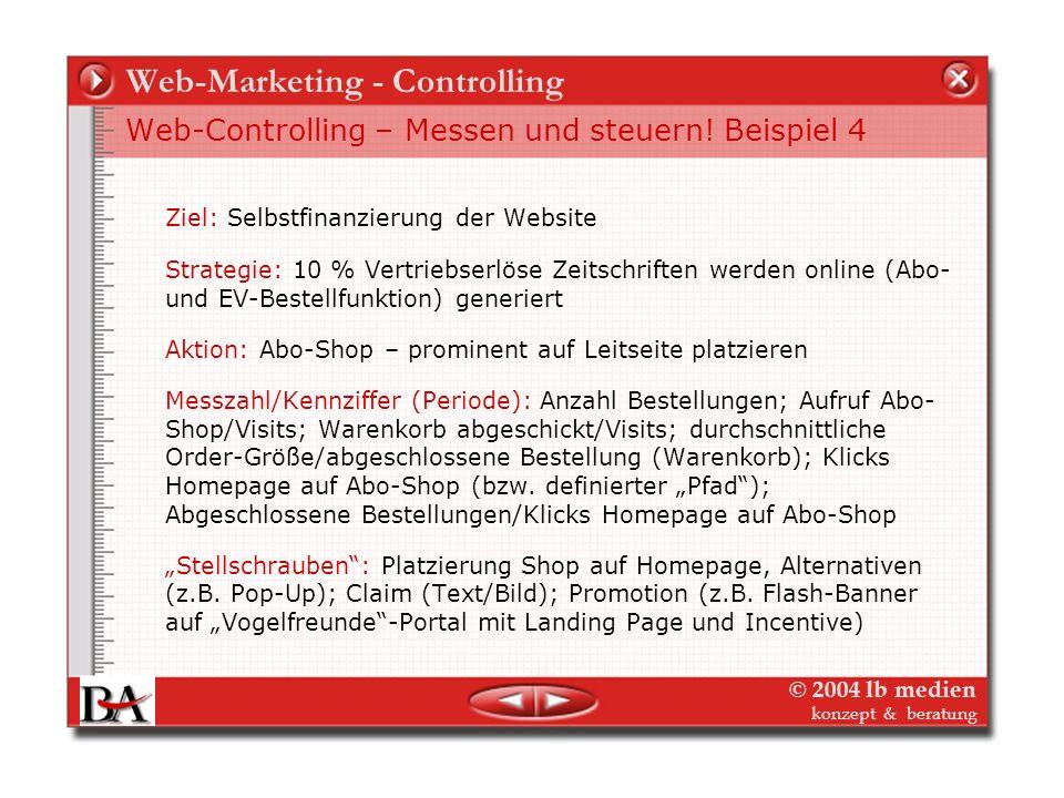 © 2004 lb medien konzept & beratung Web-Marketing - Controlling Web-Controlling – Messen und steuern! Beispiel 3 Ziel: Wie oben – Verlag als Kompetenz
