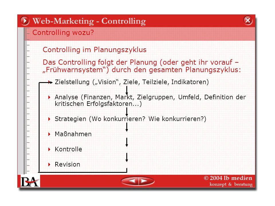 © 2004 lb medien konzept & beratung Web-Marketing - Controlling Controlling als intelligence für Planung und Management – strategisches und operatives