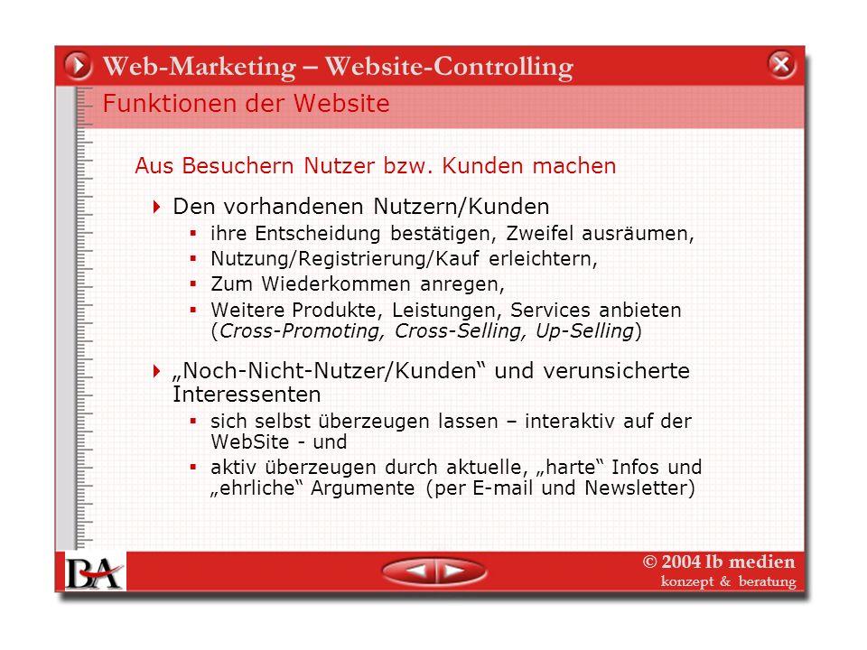 © 2004 lb medien konzept & beratung Web-Marketing – Website-Controlling Essentials des Website-Controlling Wichtigstes Medium aller Online-Aktivitäten