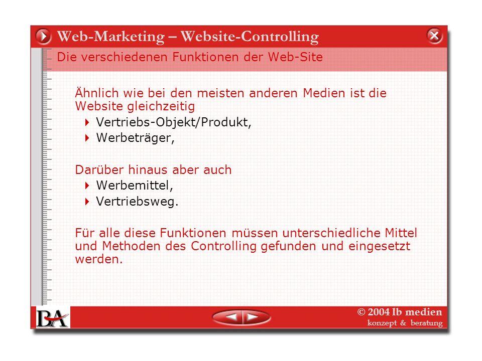 © 2004 lb medien konzept & beratung Web-Marketing – Website-Controlling Funktionen der Website Aus Besuchern Nutzer bzw. Kunden machen Den vorhandenen