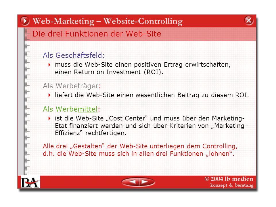 © 2004 lb medien konzept & beratung Web-Marketing – Website-Controlling Die verschiedenen Funktionen der Web-Site Ähnlich wie bei den meisten anderen