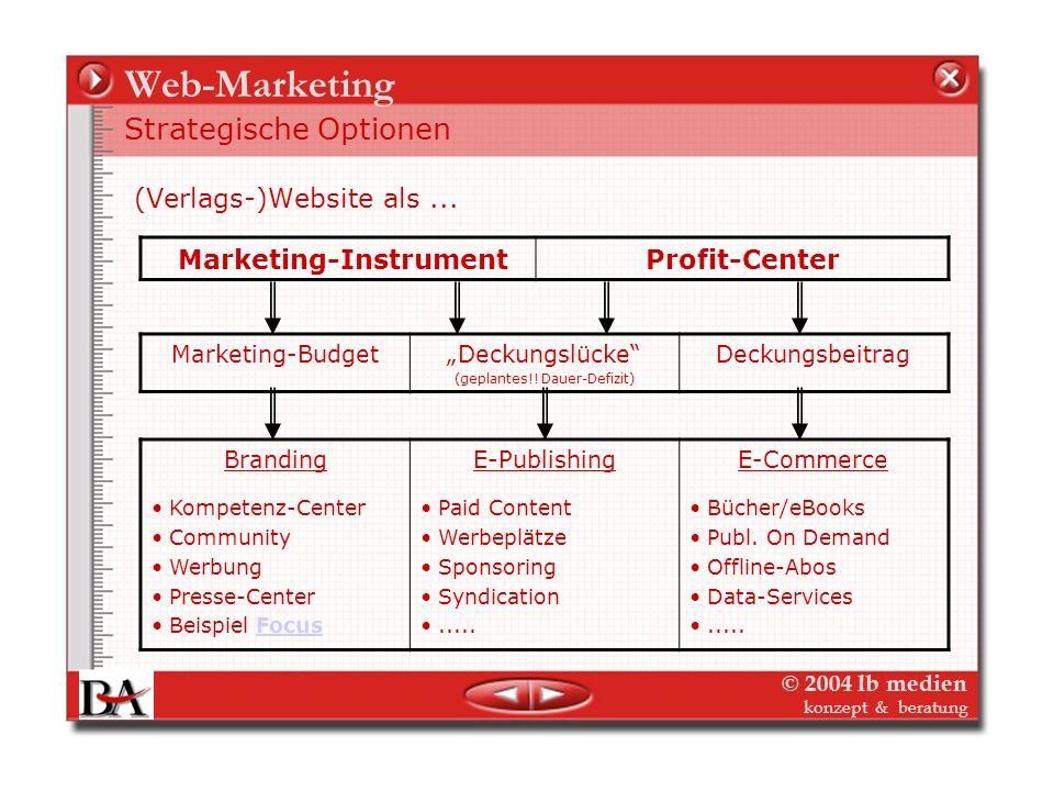© 2004 lb medien konzept & beratung Web-Marketing – Website-Controlling Die drei Funktionen der Web-Site Als Geschäftsfeld : muss die Web-Site einen p