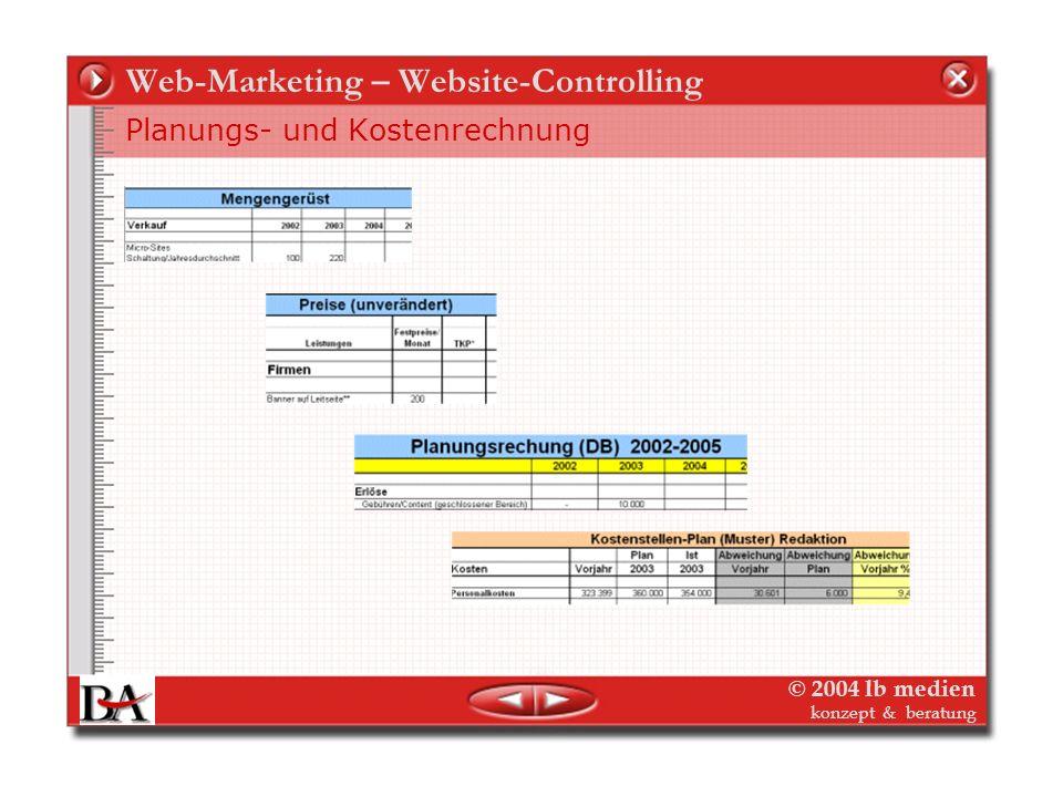 © 2004 lb medien konzept & beratung Web-Marketing – Website-Controlling Die Folien für das Website-Controlling In der mittelfristigen Planungsrechnung
