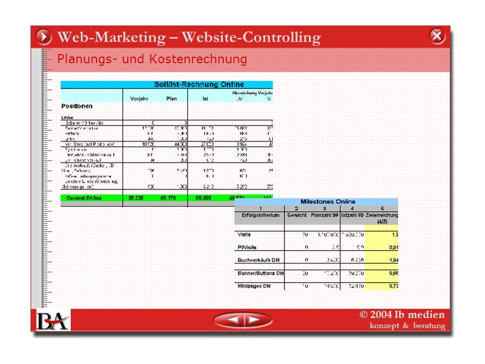 © 2004 lb medien konzept & beratung Web-Marketing – Website-Controlling Planungs- und Kostenrechnung