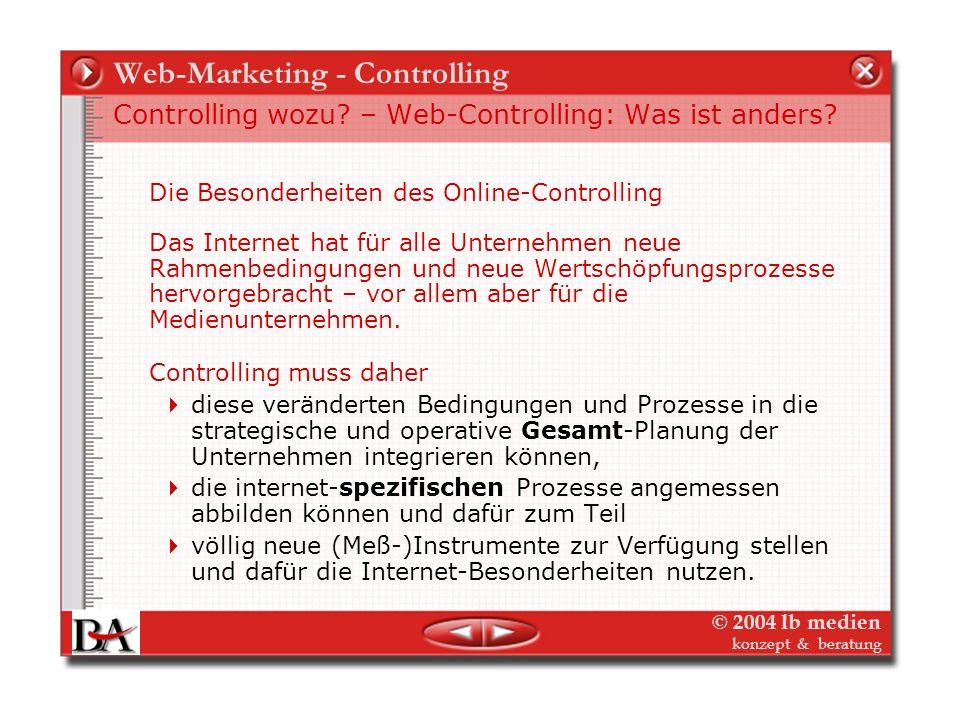 © 2004 lb medien konzept & beratung Web-Marketing - Controlling Controlling wozu? Controlling im Planungszyklus Das Controlling folgt der Planung (ode