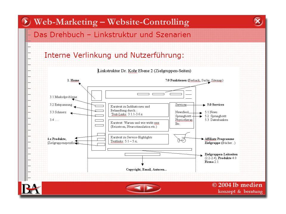 © 2004 lb medien konzept & beratung Web-Marketing – Website-Controlling Das Drehbuch – Orientierung Die Struktur der Website: