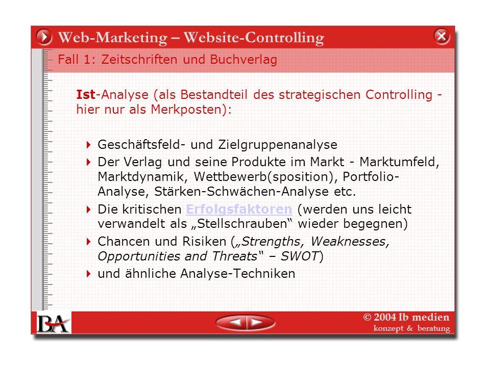© 2004 lb medien konzept & beratung Web-Marketing – Website-Controlling Fall 1: Zeitschriften und Buchverlag Mittelständischer Zeitschriften-Verlag mi