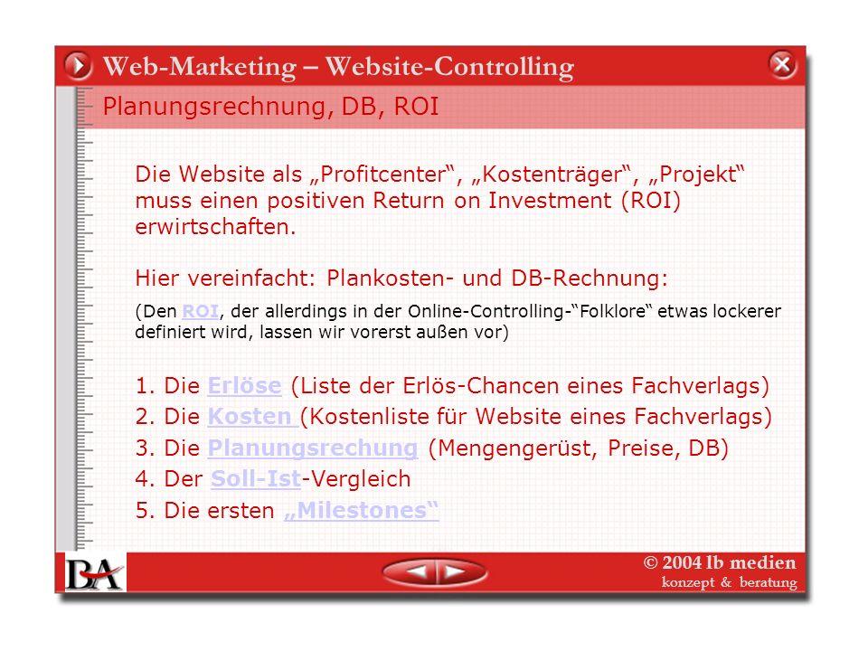 © 2004 lb medien konzept & beratung Web-Marketing – Website-Controlling Fall 1: Zeitschriften und Buchverlag Dimensionen und Perspektiven Strategien A