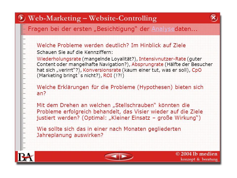 © 2004 lb medien konzept & beratung Web-Marketing – Website-Controlling Der Blick hinter die Kostenrechnung und Analyse der Löcher Erst die Verbindung