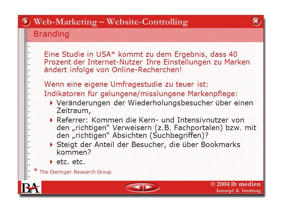 © 2004 lb medien konzept & beratung Web-Marketing – Website-Controlling Werbemittel Website – Branding, indirekte Verkäufe Der Wert der Website – auch