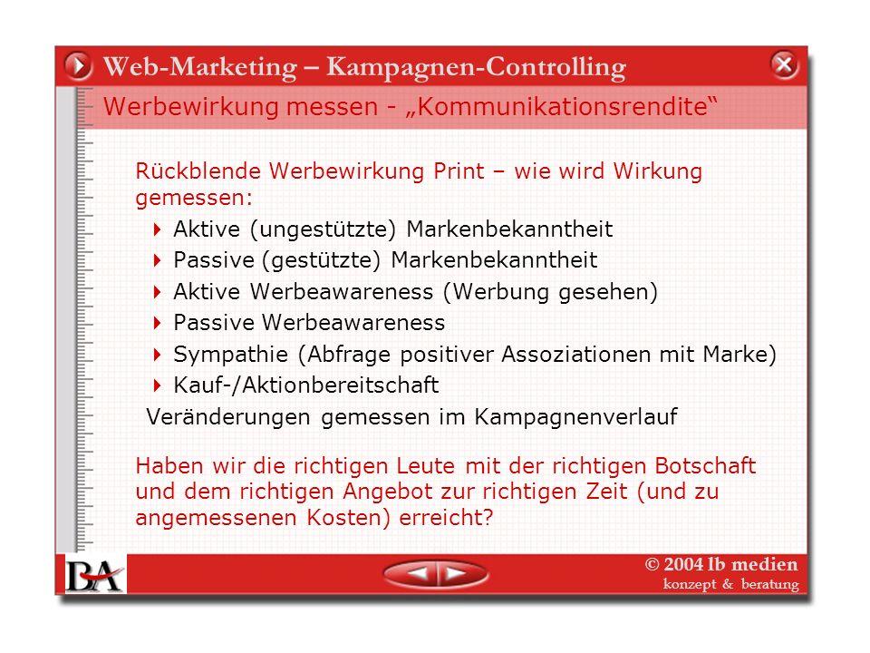 © 2004 lb medien konzept & beratung Web-Marketing – Kampagnen-Controlling Doppelte Betroffenheit Medienunternehmen sind bei dem Thema Media-Planung do