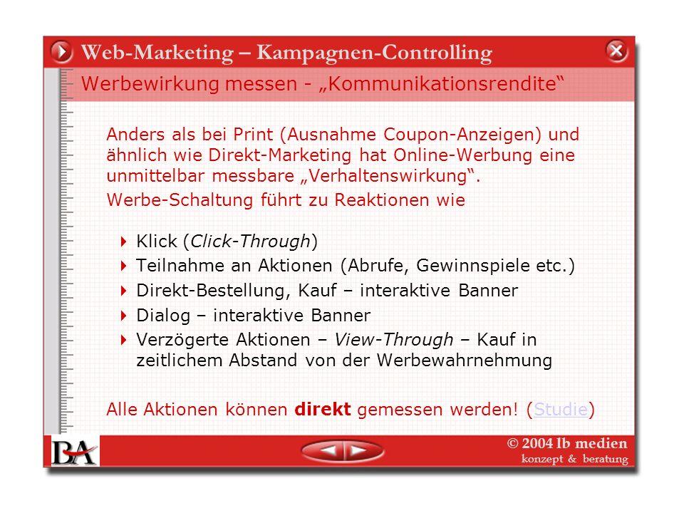© 2004 lb medien konzept & beratung Web-Marketing – Kampagnen-Controlling Werbewirkung messen - Kommunikationsrendite Rückblende Werbewirkung Print –