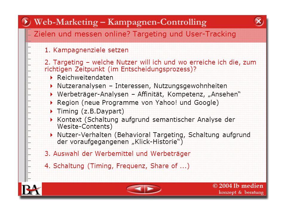 © 2004 lb medien konzept & beratung Web-Marketing – Kampagnen-Controlling Werbewirkung messen