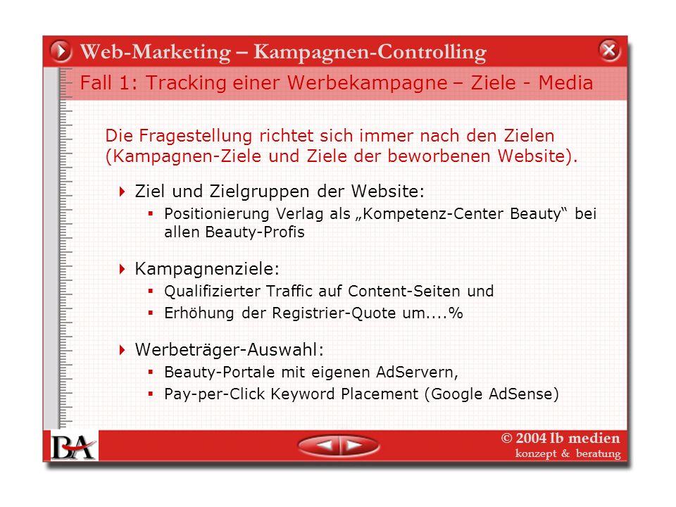 © 2004 lb medien konzept & beratung Web-Marketing – Kampagnen-Controlling Zielen und messen online? Konkurrenzbeobachtung