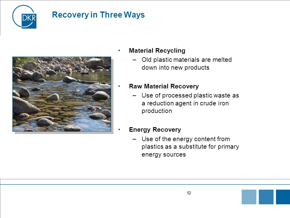 12 Recovery in Three Ways Material Recycling –Old plastic materials are melted down into new products Raw Material Recovery –Use of processed plastic