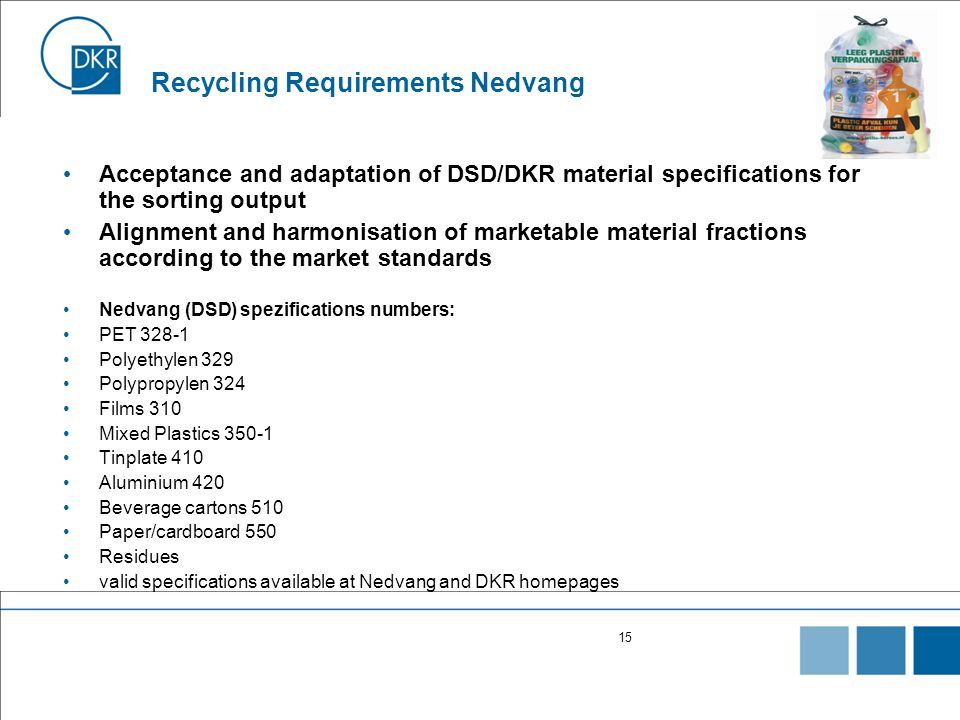 15 Recycling Requirements Nedvang Acceptance and adaptation of DSD/DKR material specifications for the sorting output Alignment and harmonisation of m