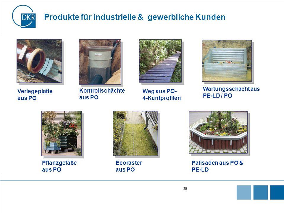 30 Produkte für industrielle & gewerbliche Kunden Pflanzgefäße aus PO Weg aus PO- 4-Kantprofilen Ecoraster aus PO Wartungsschacht aus PE-LD / PO Kontrollschächte aus PO Verlegeplatte aus PO Palisaden aus PO & PE-LD