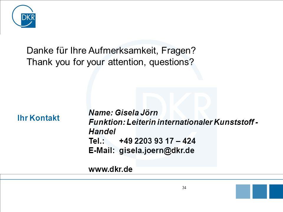 34 Ihr Kontakt Name: Gisela Jörn Funktion: Leiterin internationaler Kunststoff - Handel Tel.:+49 2203 93 17 – 424 E-Mail:gisela.joern@dkr.de www.dkr.de Danke für Ihre Aufmerksamkeit, Fragen.