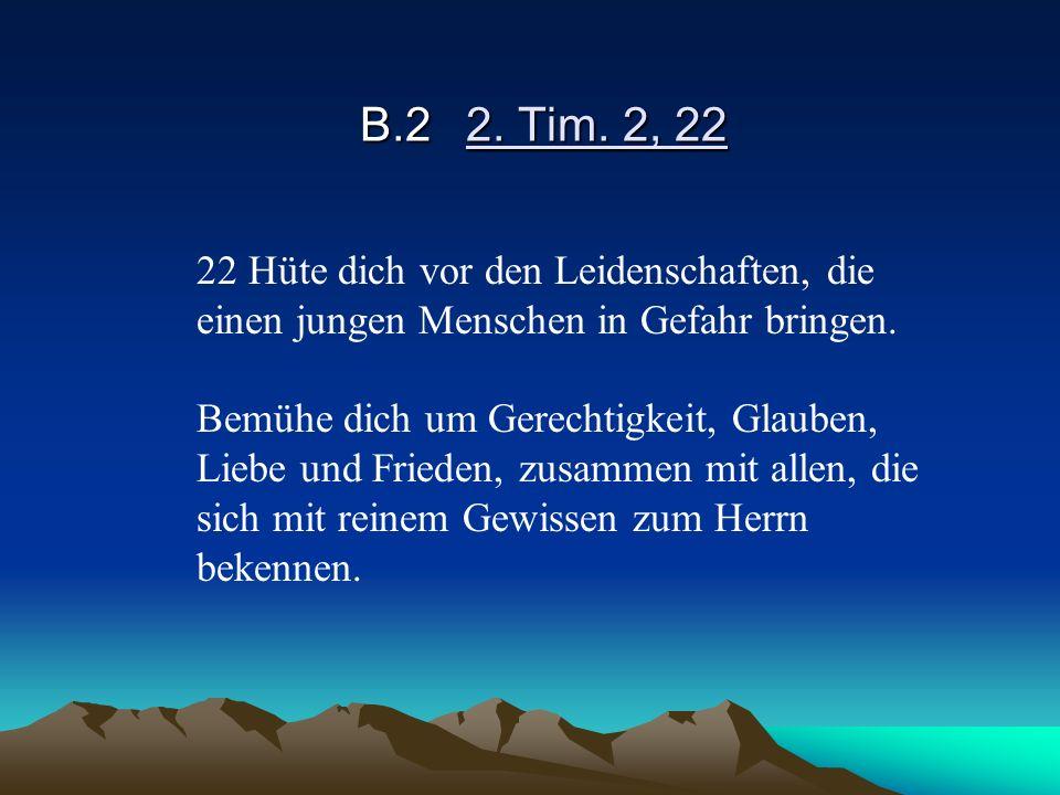 B.22. Tim. 2, 22 22 Hüte dich vor den Leidenschaften, die einen jungen Menschen in Gefahr bringen. Bemühe dich um Gerechtigkeit, Glauben, Liebe und Fr