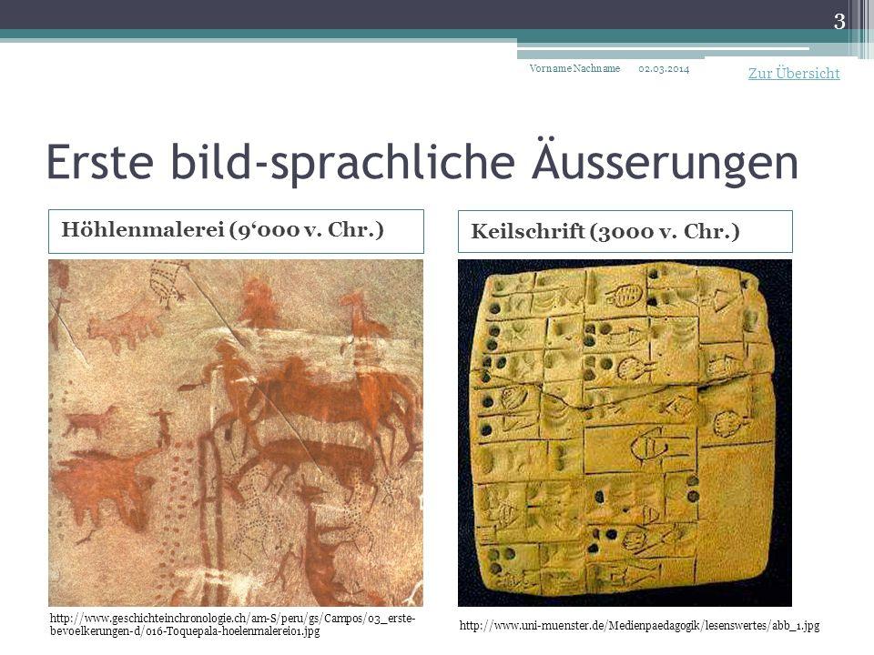 Erste bild-sprachliche Äusserungen Höhlenmalerei (9000 v.