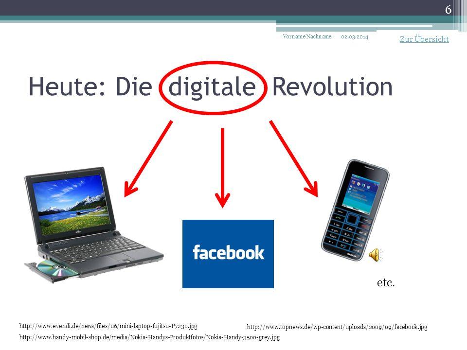 Heute: Die digitale Revolution 02.03.2014Vorname Nachname 6 http://www.handy-mobil-shop.de/media/Nokia-Handys-Produktfotos/Nokia-Handy-3500-grey.jpg http://www.evendi.de/news/files/u6/mini-laptop-fujitsu-P7230.jpg http://www.topnews.de/wp-content/uploads/2009/09/facebook.jpg etc.