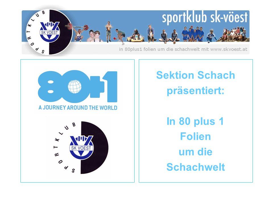 ÖSB Österreichischer Schachbund seit 1920/1946 seit 2004 in der BSO Schach ist Sport 15.000 Schachspieler 500 Vereine 9 Landesverbände Bundesliga 2.