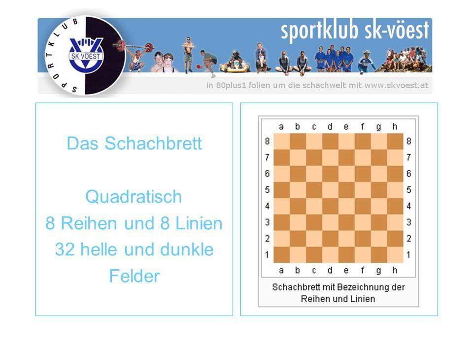 Das Schachbrett Quadratisch 8 Reihen und 8 Linien 32 helle und dunkle Felder