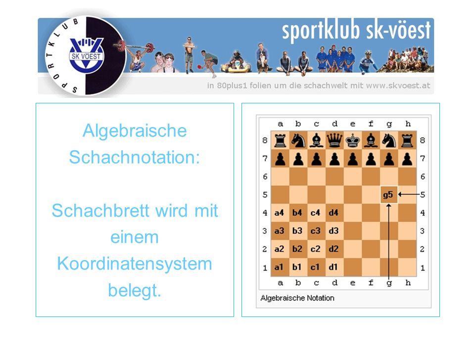 Algebraische Schachnotation: Schachbrett wird mit einem Koordinatensystem belegt.