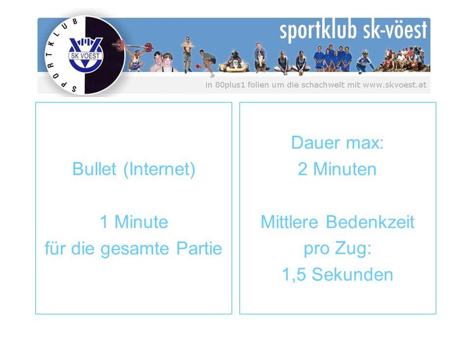 Bullet (Internet) 1 Minute für die gesamte Partie Dauer max: 2 Minuten Mittlere Bedenkzeit pro Zug: 1,5 Sekunden