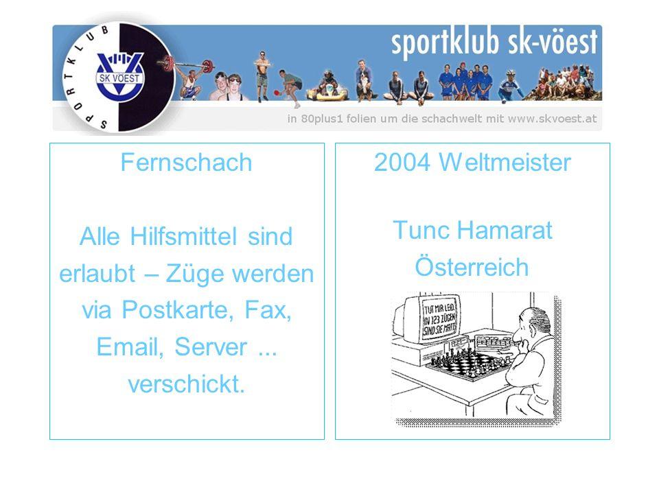 Fernschach Alle Hilfsmittel sind erlaubt – Züge werden via Postkarte, Fax, Email, Server... verschickt. 2004 Weltmeister Tunc Hamarat Österreich