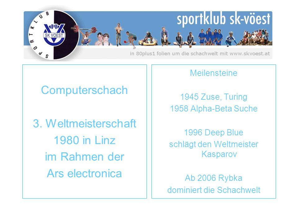 Computerschach 3. Weltmeisterschaft 1980 in Linz im Rahmen der Ars electronica Meilensteine 1945 Zuse, Turing 1958 Alpha-Beta Suche 1996 Deep Blue sch