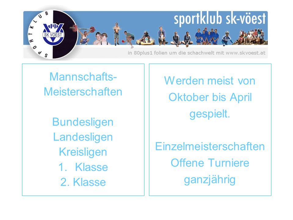 Mannschafts- Meisterschaften Bundesligen Landesligen Kreisligen 1.Klasse 2. Klasse Werden meist von Oktober bis April gespielt. Einzelmeisterschaften