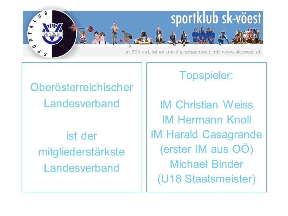 Oberösterreichischer Landesverband ist der mitgliederstärkste Landesverband Topspieler: IM Christian Weiss IM Hermann Knoll IM Harald Casagrande (erster IM aus OÖ) Michael Binder (U18 Staatsmeister)