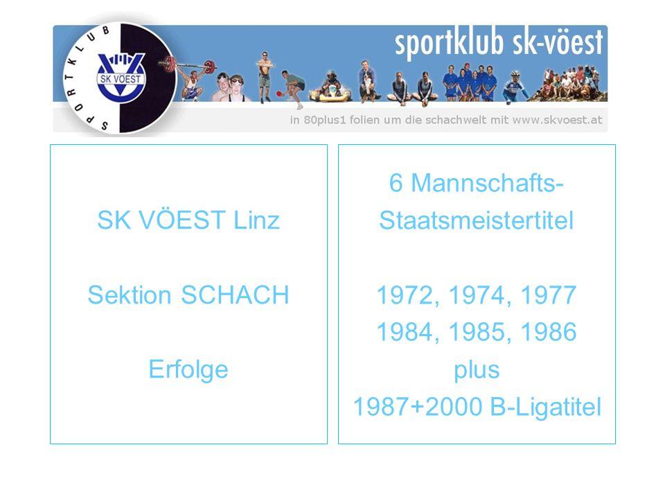 SK VÖEST Linz Sektion SCHACH Erfolge 6 Mannschafts- Staatsmeistertitel 1972, 1974, 1977 1984, 1985, 1986 plus 1987+2000 B-Ligatitel