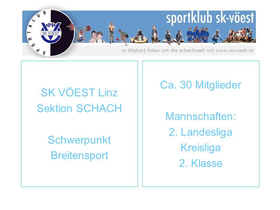 SK VÖEST Linz Sektion SCHACH Schwerpunkt Breitensport Ca. 30 Mitglieder Mannschaften: 2. Landesliga Kreisliga 2. Klasse