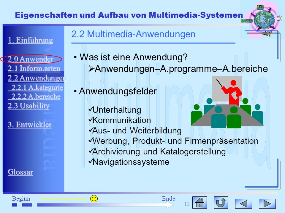 Multimedia BeginnEnde Eigenschaften und Aufbau von Multimedia-Systemen 11 1. Einführung 1. Einführung 2.0 Anwender 2.0 Anwender 2.1 Inform.arten 2.1 I