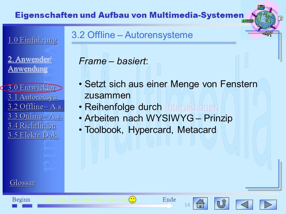 Multimedia BeginnEnde Eigenschaften und Aufbau von Multimedia-Systemen 16 3.2 Offline – Autorensysteme Frame – basiert: Setzt sich aus einer Menge von