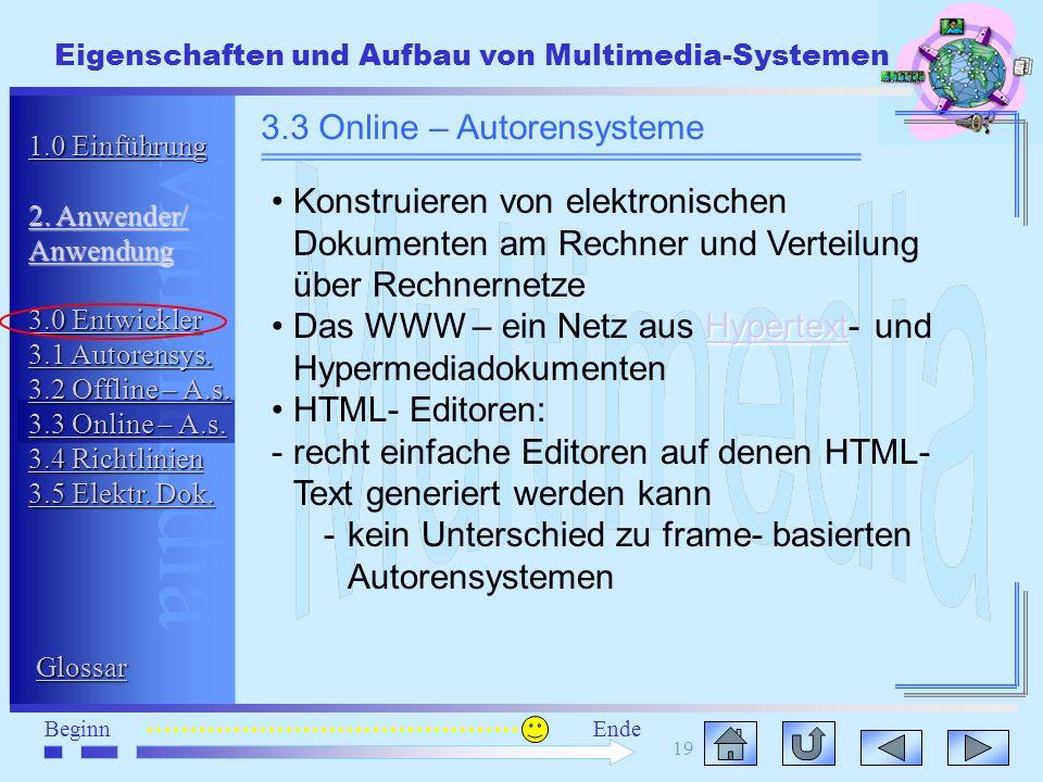 Multimedia BeginnEnde Eigenschaften und Aufbau von Multimedia-Systemen 19 3.3 Online – Autorensysteme Konstruieren von elektronischen Dokumenten am Re