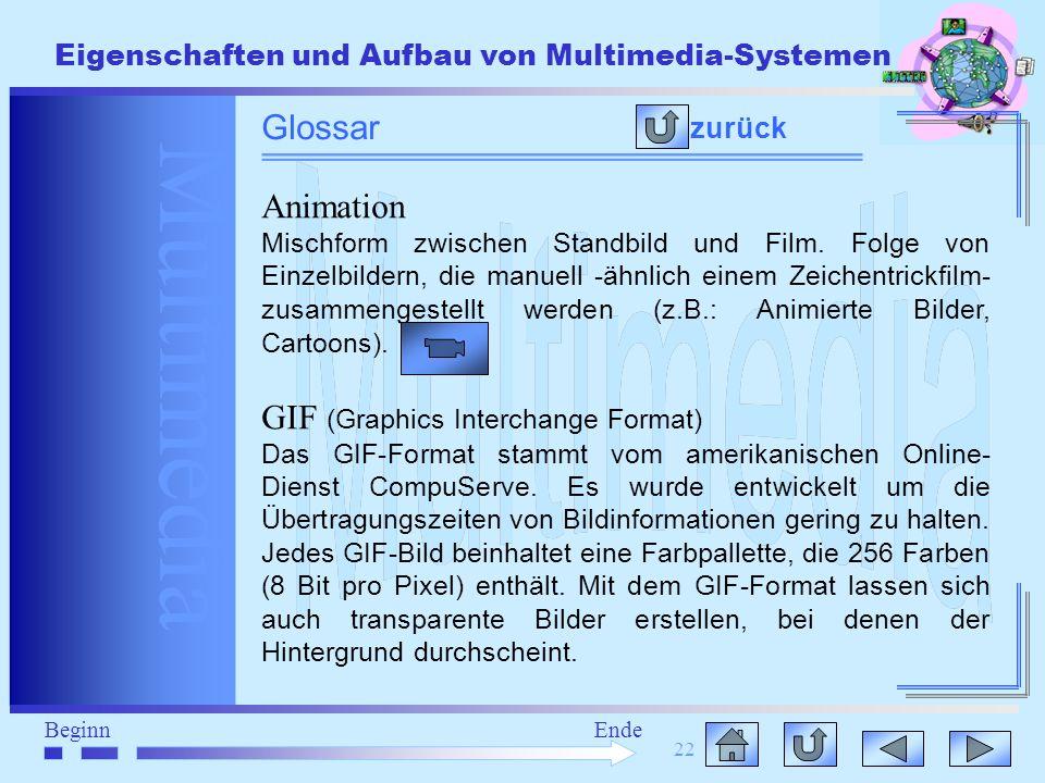Multimedia BeginnEnde Eigenschaften und Aufbau von Multimedia-Systemen 22 zurück Glossar Animation Mischform zwischen Standbild und Film. Folge von Ei