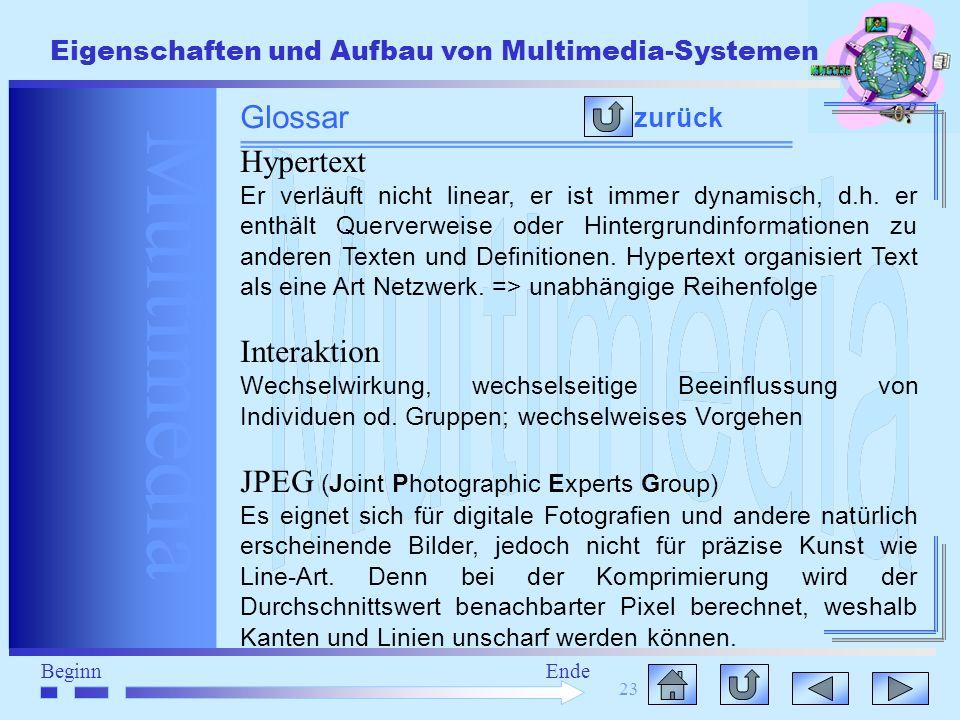 Multimedia BeginnEnde Eigenschaften und Aufbau von Multimedia-Systemen 23 zurück Glossar Hypertext Er verläuft nicht linear, er ist immer dynamisch, d